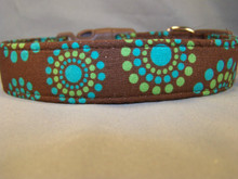 Blue and Green Circle Dots on Brown Dog Collar