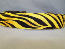 Yellow Zebra Stripe Dog Collar