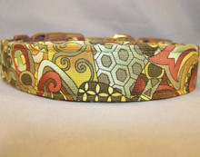 Abstract Print on Olive Dog Collar