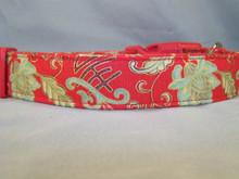 Oriental Jade Scroll on Red Dog Collar