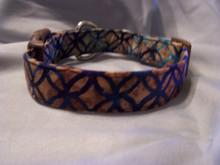 Blue and Brown Batik Dog Collar Rescue Me Collar
