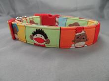 Colorful Sock Monkey Dog Collar  www.rescuemecollars.com