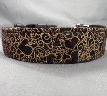 Gold Foil Hearts on Black Valentine Dog Collar www.rescuemecollars.com