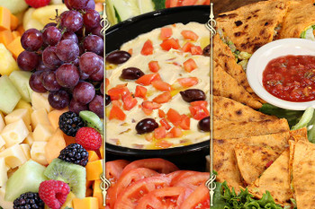 Ideal for an office party, cocktail get-together, or as a starter for a special meal, Our All About Apps selections will satisy any palete!  Includes: Hummus Tray | Fruit & Cheese Tray | Quesadilla Tray