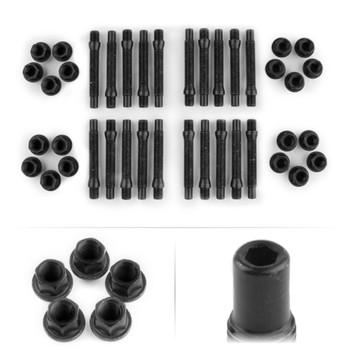 M12x1.5 5 Lug Kit with Black Nuts and Hex Head Stud