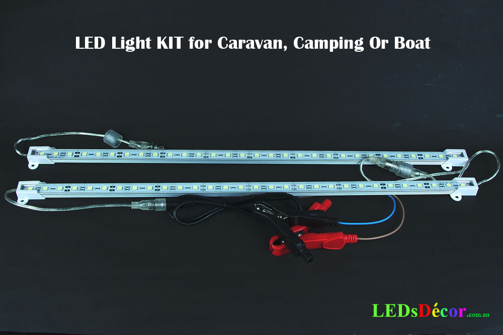 2 x 50 cm led 12v light bars for boat caravan camping ready kit led light bar kit for caravan or camping aloadofball Gallery
