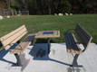 Parker Outdoor Bench shown with Chess / games table (table optional)
