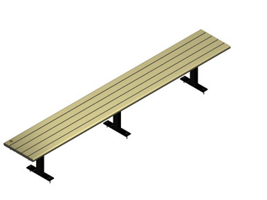 Straight Public Bench with Beige slats