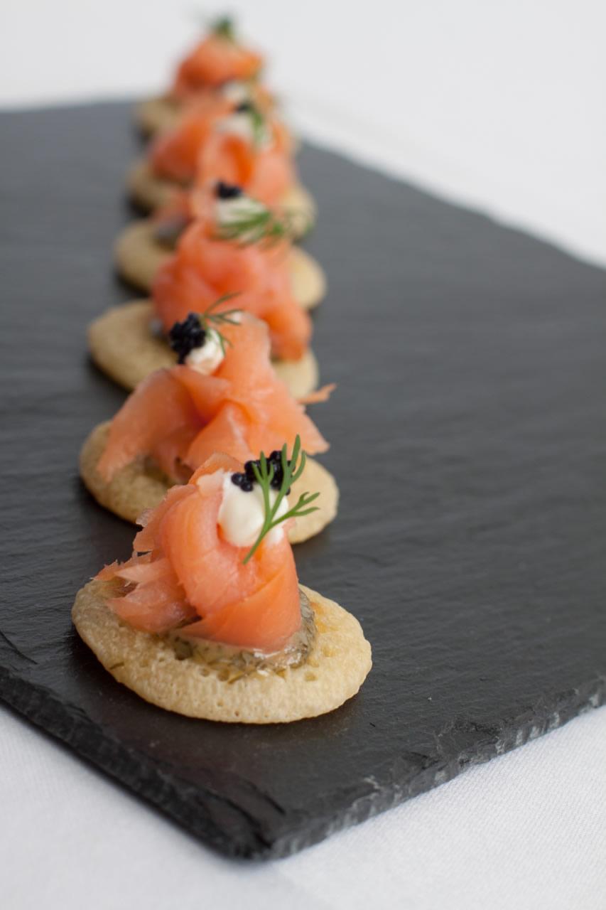 recipe: smoked salmon blinis with creme fraiche and horseradish [39]