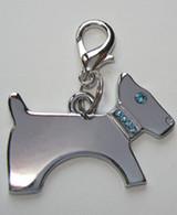 Blue Crystal Dog Charm