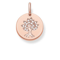 THOMAS SABO Sterling Silver 18ct Rose Gold Plated Tree Of Life Engraveable Coin