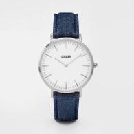CLUSE La Boheme Silver White/Denim Watch