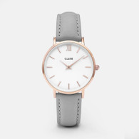 CLUSE Minuit Rose Gold White/Grey Watch