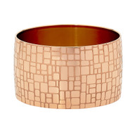 STAINLESS STEEL ROSE GOLD IP PLATED WIDE BANGLE WITH SQUARE DESIGN