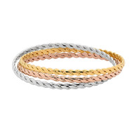 STAINLESS STEEL ROSE & YELLOW GOLD PLATed TRIPLE TWIST BANGLE
