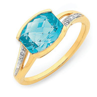 Blue Topaz & Diamond ring