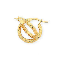 9ct Yellow Gold Faceted Hoops - small (M2260)