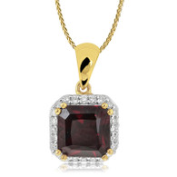 9ct Diamond and Garnet square pendant