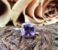 9k Amethyst & Diamond ring