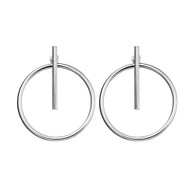 STERLING SILVER BAR AND CIRCLE STUD EARRINGS