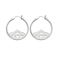 STERLING SILVER HOOPS WITH FILIGREE DESIGN INSET