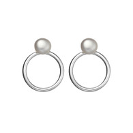 STERLING SILVER CIRCLE EARRINGS WITH PEARL