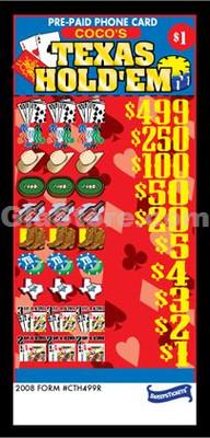 Texas Hold'em Pre-Paid Phone Card Pull Tabs