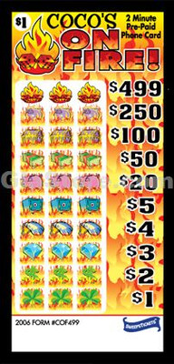 On Fire! Pre-Paid Phone Card Pull Tabs