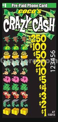 Crazy Cash Pre-Paid Phone Card Pull Tabs
