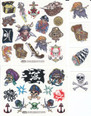 Boy's Temporary PirateTattoos Pack of over 50 skulls, swords, pirates, treasure