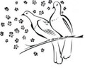 Wall Decals and Stickers-Two doves on a branch