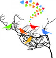Wall Decals and Stickers -- 5 Birds and hearts in a Tree