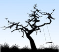 Wall Decals and Stickers -- Birds in Tree with Swing