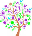 Wall Decals and Stickers -- Birds in Tree with Flowers