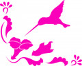 Wall Decals and Stickers - HummingBird With Flowers