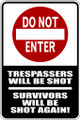 Wall Decals and Stickers - Trespassers will be Shot