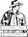 Wall Decals and Stickers - Cowboy Sideview