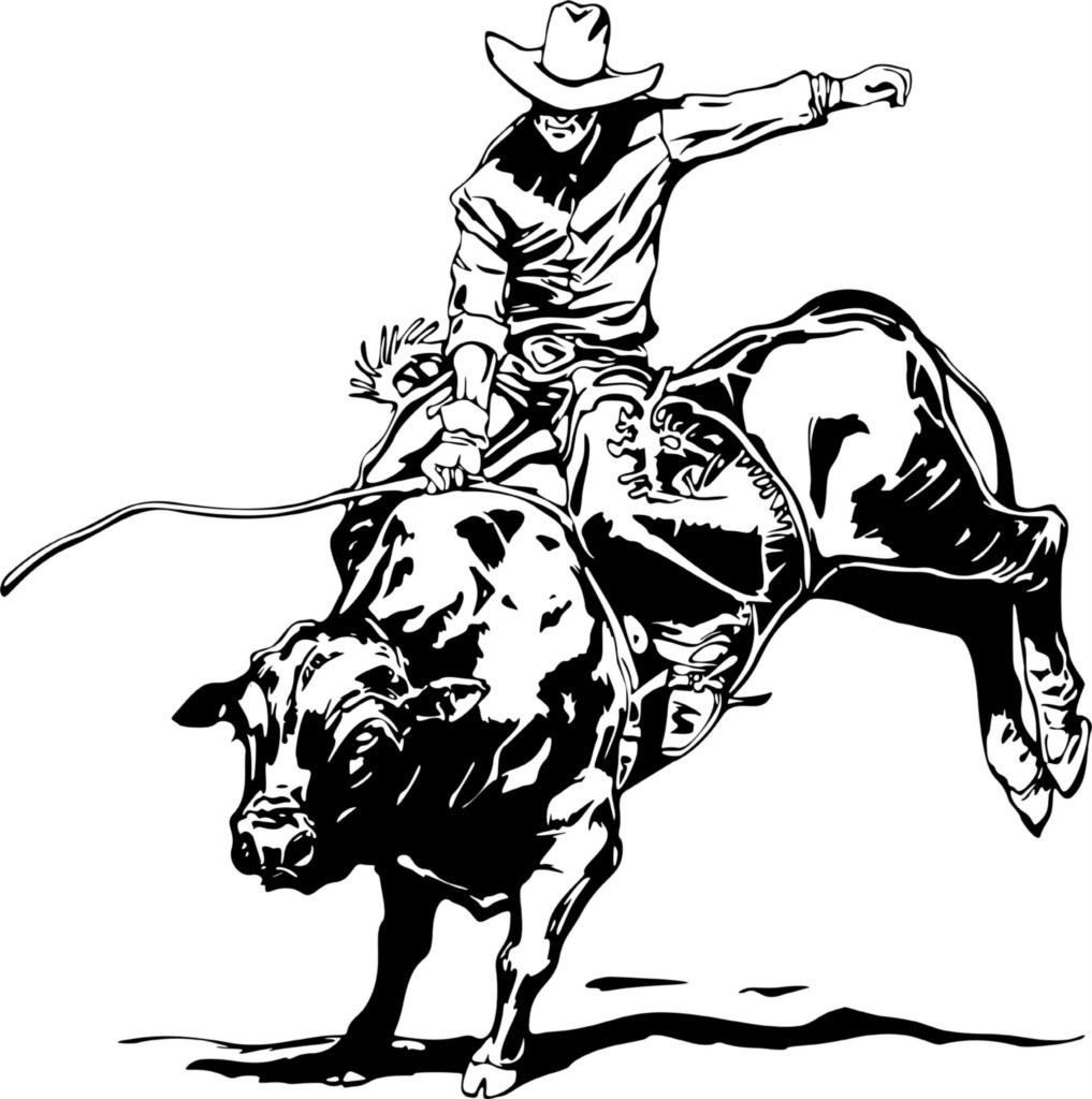 bull riding Colouring Pages