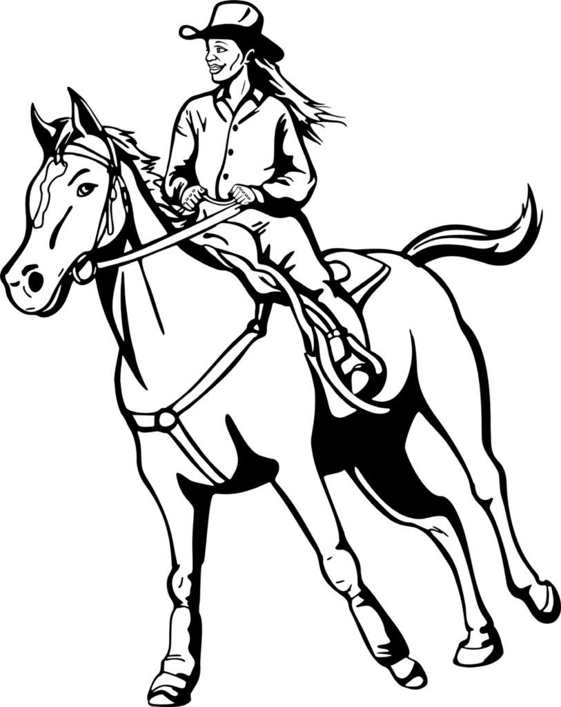 cowgirls and horses coloring pages - photo#4