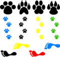 Wall Decals and Stickers - Dog, Cat And Man Foot Prints