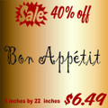 Bon Appetit Picture Art  Home Decor Sticker  Vinyl Wall Decal  6x23