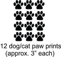 Cat  Dog  12 Animal Paw Prints Picture Art  Home Decor Sticker  Vinyl Wall Decal  16x13