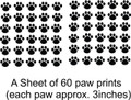 Cat  Dog  60 Animal Paw Prints Picture Art  Home Decor Sticker  Vinyl Wall Decal  21x31