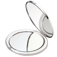 Silver Round Compact with Magnifying Mirror 3″ x 2-3/4″ x 5/16″