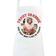 Close up image of Fanny Cradock novelty apron
