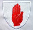 Ulster embroidered badge on retro rugby shirt