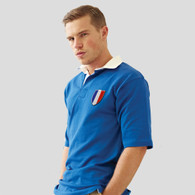 France vintage style rugby shirt embroidered with the france crest from the 80's