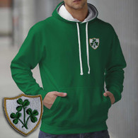 Ireland Triple Shamrock design embroidered hoodie AWD smartphone friendly. Irish rugby hooded sweatshirt