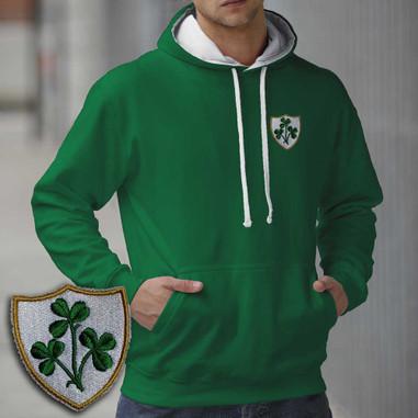 Ireland Triple Shamrock design embroidered hoodie AWD smartphone friendly. Irish rugby hooded sweatshirt