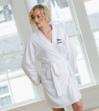 Womens Ladies cotton robe dressing gown wrap personalised with a name